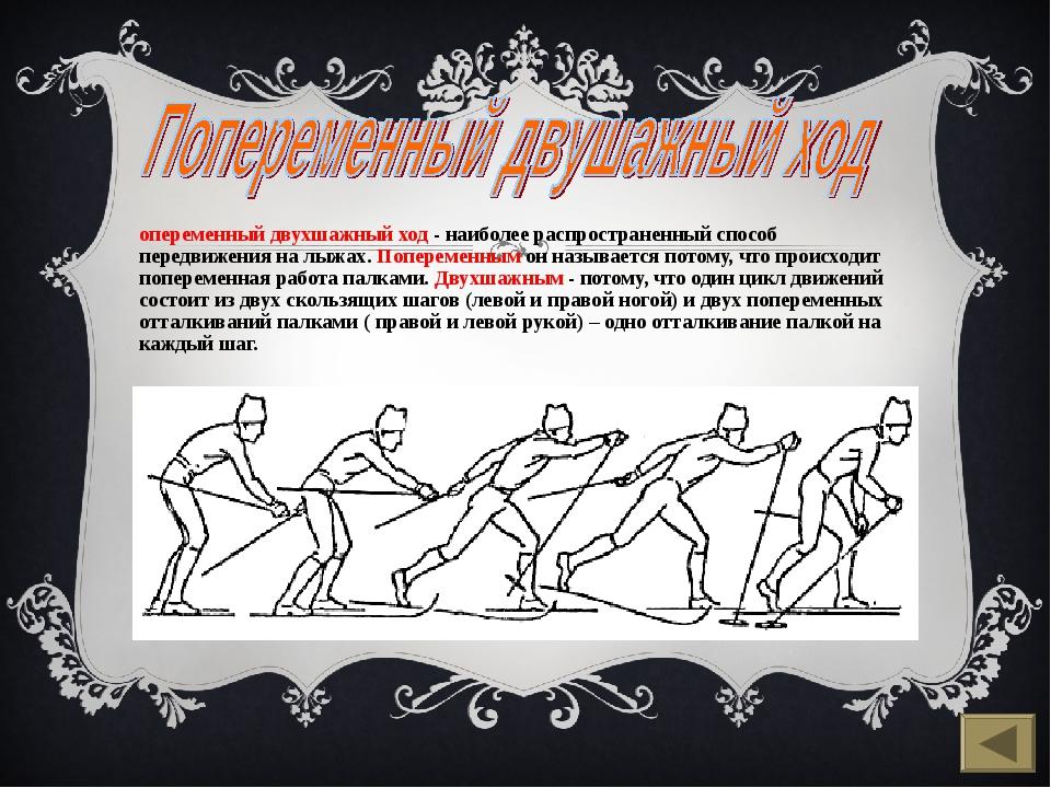 Попеременный двухшажный ход - наиболее распространенный способ передвижения н...