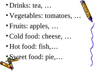 Drinks: tea, … Vegetables: tomatoes, … Fruits: apples, … Cold food: cheese,