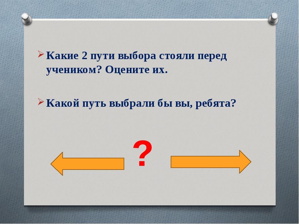 Какие 2 пути выбора стояли перед учеником? Оцените их. Какой путь выбрали бы...