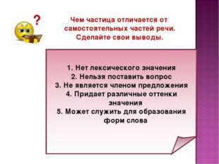 ? Чем частица отличается от самостоятельных частей речи. Сделайте свои выводы