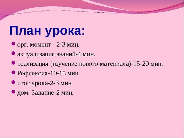План урока: орг. момент - 2-3 мин. актуализация знаний-4 мин. реализация (изу...