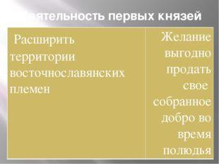Деятельность первых князей была подчинена двум целям Расширить территории вос