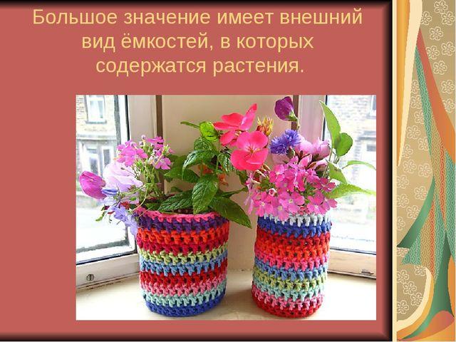 Большое значение имеет внешний вид ёмкостей, в которых содержатся растения.