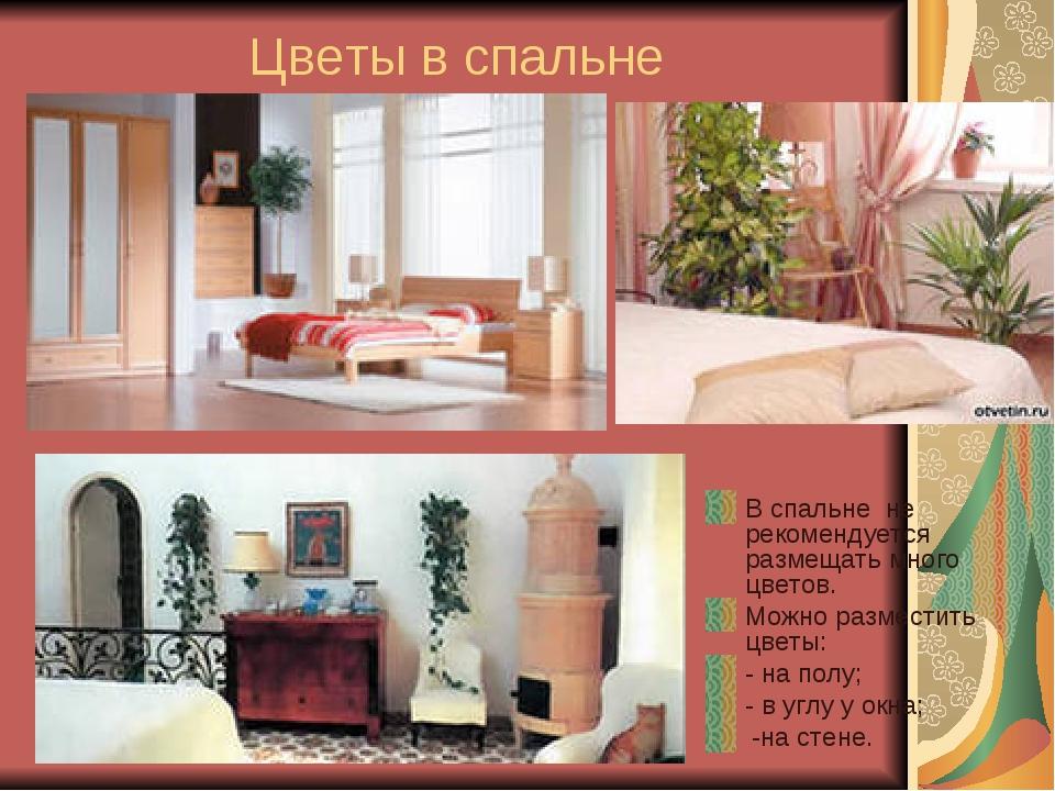 Цветы в спальне В спальне не рекомендуется размещать много цветов. Можно разм...