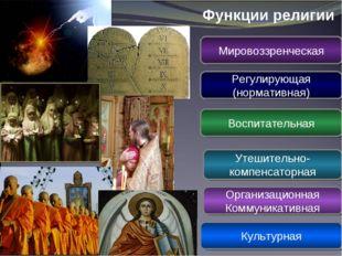 Функции религии Мировоззренческая Регулирующая (нормативная) Воспитательная У