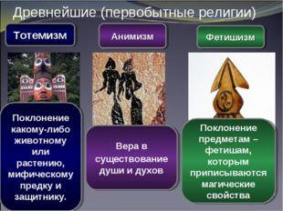 Древнейшие (первобытные религии) Тотемизм Анимизм Фетишизм Вера в существован