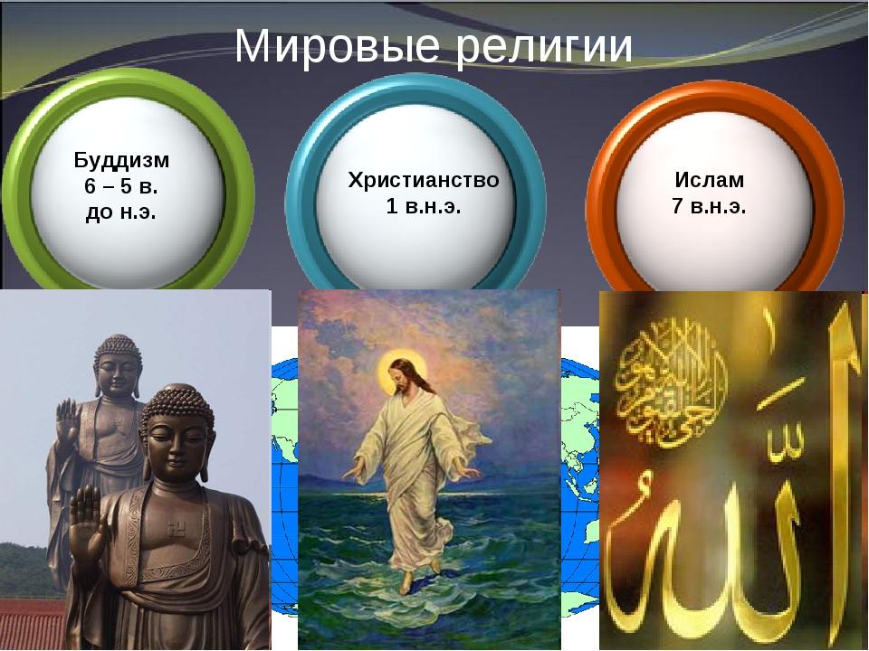 Мировые религии Христианство 1 в.н.э. Буддизм 6 – 5 в. до н.э. Ислам 7 в.н.э.