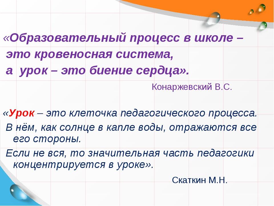 «Образовательный процесс в школе – это кровеносная система, а урок – это биен...