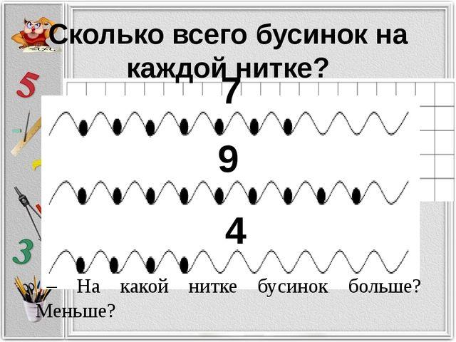 Сколько всего бусинок на каждой нитке? 7 9 4 – На какой нитке бусинок больше?...