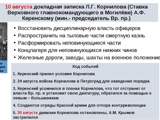 * * 10 августа докладная записка Л.Г. Корнилова (Ставка Верховного главнокома...