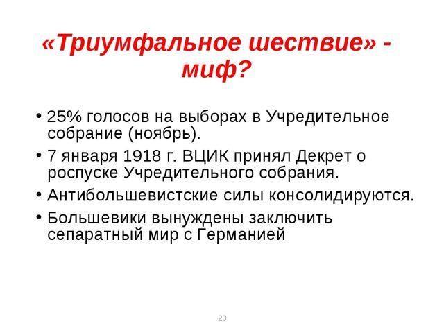 * * «Триумфальное шествие» - миф? 25% голосов на выборах в Учредительное собр...