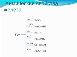 Химические свойства железа Fe+ O2 H2SO4 Cl2 HCl CuSO4 H2O Fe3O4 FeSO4+H2 FeC