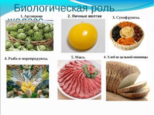 Биологическая роль железа 1. Артишоки 2. Яичные желтки 3. Сухофрукты. 4. Рыб