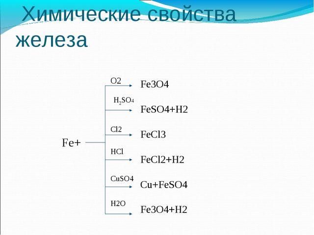 Химические свойства железа Fe+ O2 H2SO4 Cl2 HCl CuSO4 H2O Fe3O4 FeSO4+H2 FeC...