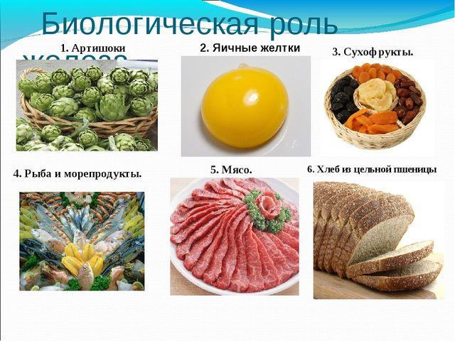 Биологическая роль железа 1. Артишоки 2. Яичные желтки 3. Сухофрукты. 4. Рыб...