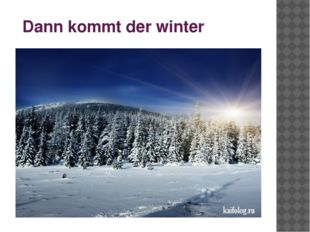 Dann kommt der winter