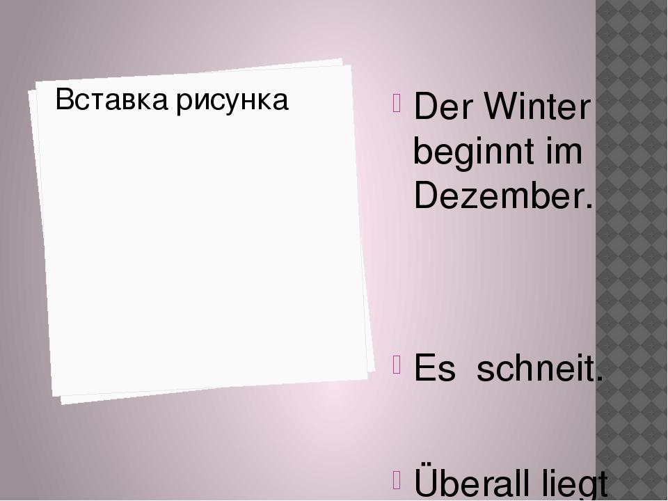 Der Winter beginnt im Dezember. Es schneit. Überall liegt Schnee.