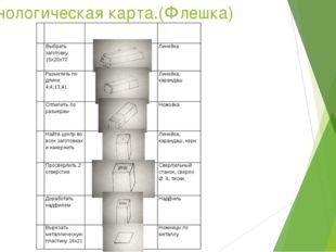 Технологическая карта.(Флешка)    № Содержание операций Эскиз Инструменты