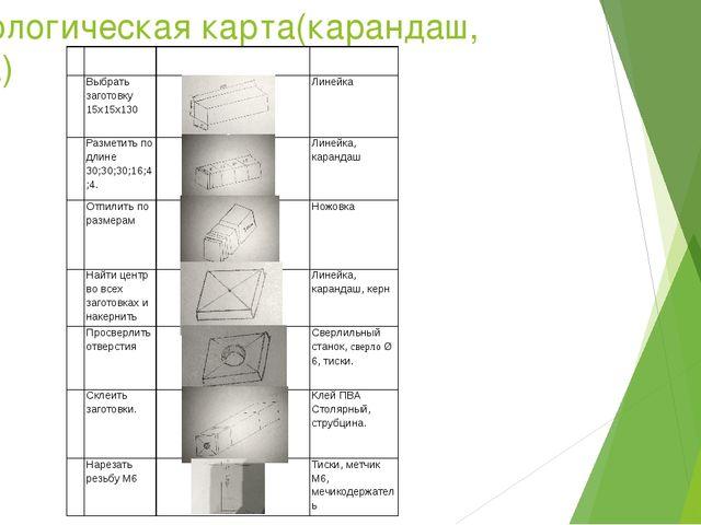 Технологическая карта(карандаш, ручка)   № Содержание операций Эскиз Инстру...
