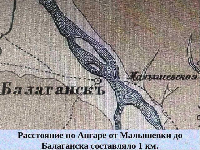Расстояние по Ангаре от Малышевки до Балаганска составляло 1 км. * Расстояние...