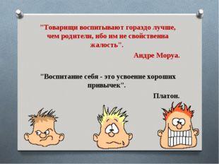 """""""Товарищи воспитывают гораздо лучше, чем родители, ибо им не свойственна жало"""