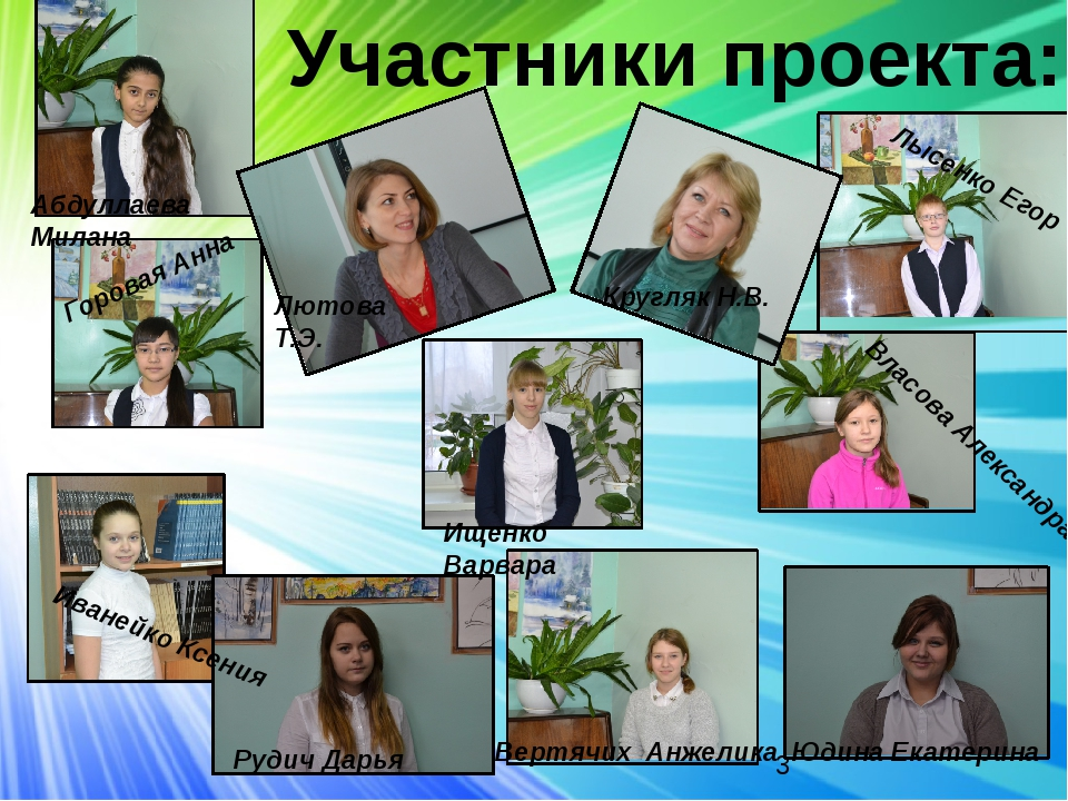 Участники проекта: Кругляк Н.В. Лютова Т.Э. Иванейко Ксения Рудич Дарья Ищен...
