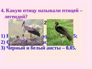 4. Какую птицу называли птицей – легендой? 6,75 : 27 – 0,2 1) Венценосный жур