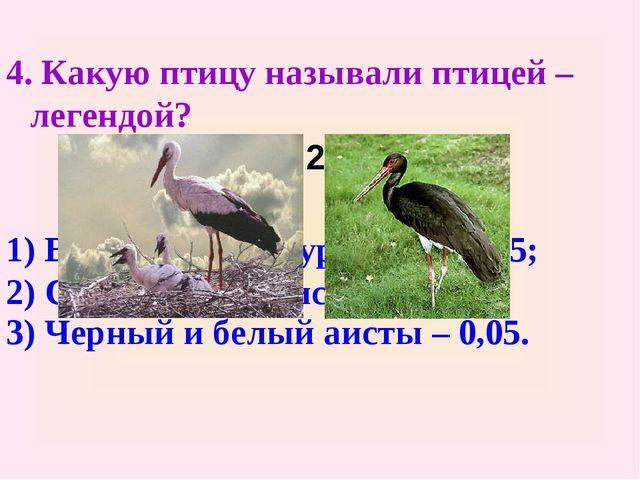 4. Какую птицу называли птицей – легендой? 6,75 : 27 – 0,2 1) Венценосный жур...