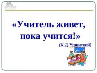 «Учитель живет, пока учится!» (К.Д.Ушинский)