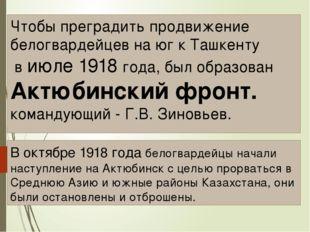 Чтобы преградить продвижение белогвардейцев на юг к Ташкенту в июле 1918 года