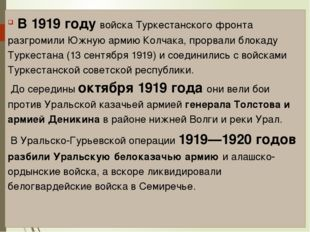 В 1919 году войска Туркестанского фронта разгромили Южную армию Колчака, про