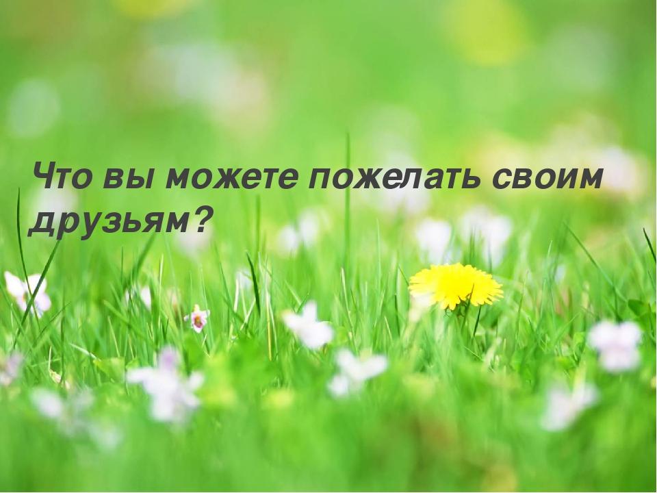 Что вы можете пожелать своим друзьям?