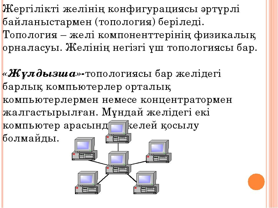 Жергілікті желінің конфигурациясы әртүрлі байланыстармен (топология) беріледі...