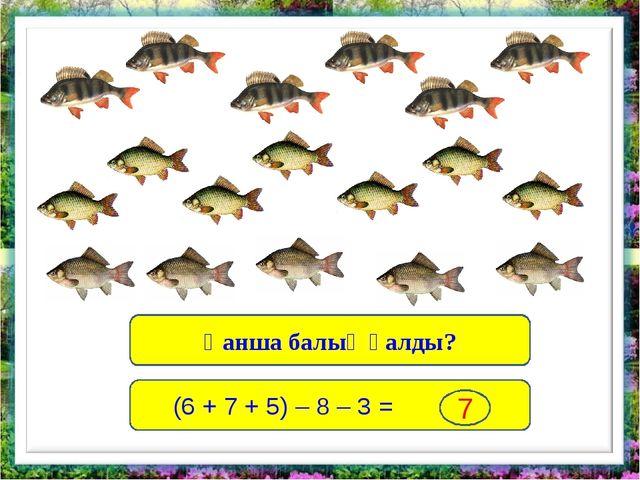 Қанша балық қалды? (6 + 7 + 5) – 8 – 3 = 7