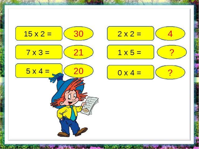 15 х 2 = 7 х 3 = 5 х 4 = 2 х 2 = 1 х 5 = 0 х 4 = 30 21 20 4 ? ?