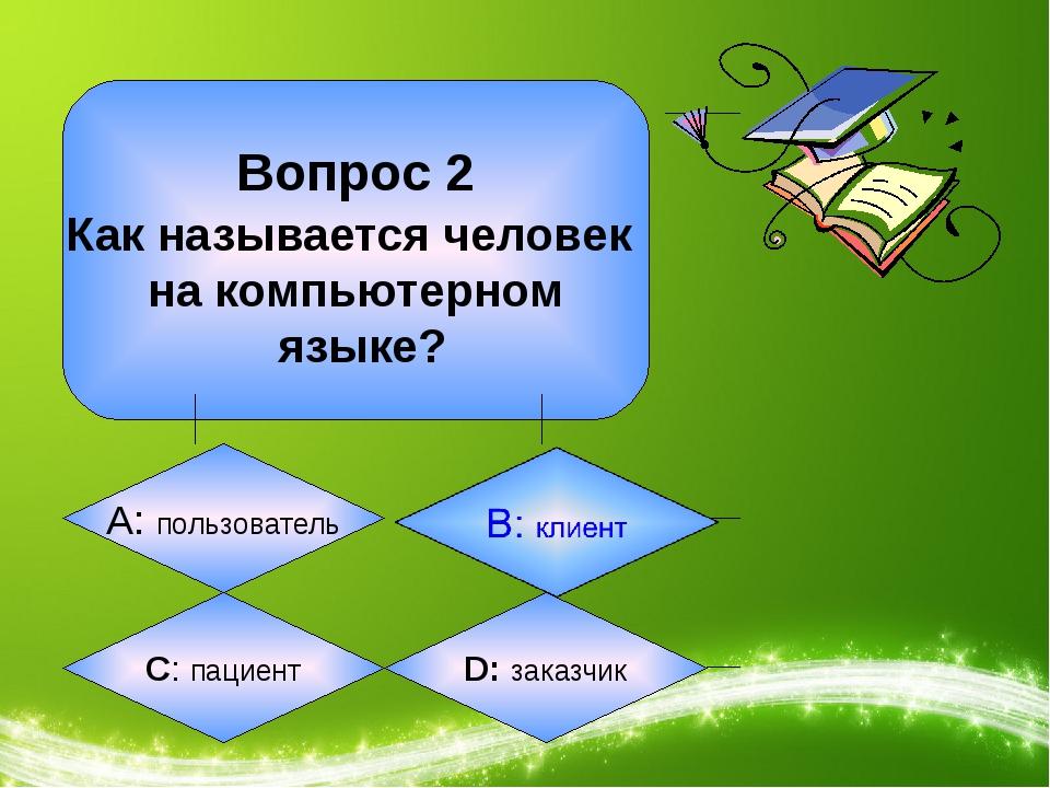 Вопрос 2 Как называется человек на компьютерном языке? А: пользователь C: па...
