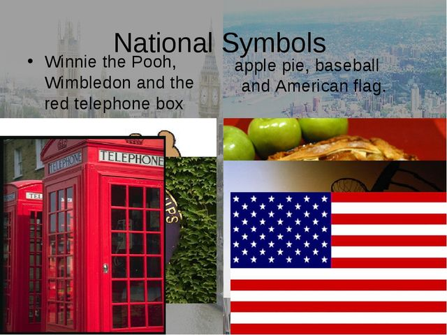 National Symbols Winnie the Pooh, Wimbledon and the red telephone box apple p...