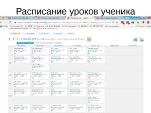Расписание уроков ученика