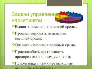 Задачи управления маркетингом Выявить изменения внешней среды; Проанализирова