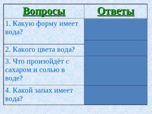ВопросыОтветы 1. Какую форму имеет вода?Вода формы не имеет. Она принимает