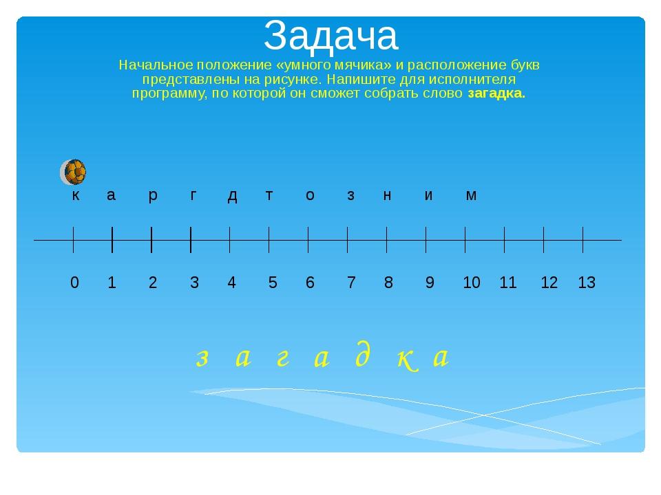 Задача Начальное положение «умного мячика» и расположение букв представлены н...