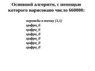 * Основной алгоритм, с помощью которого нарисовано число 660000: переведи в т