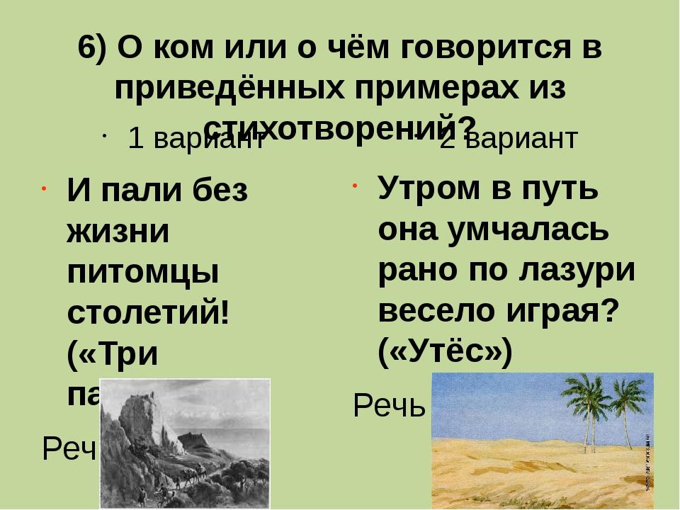 6) О ком или о чём говорится в приведённых примерах из стихотворений? 1 вариа...