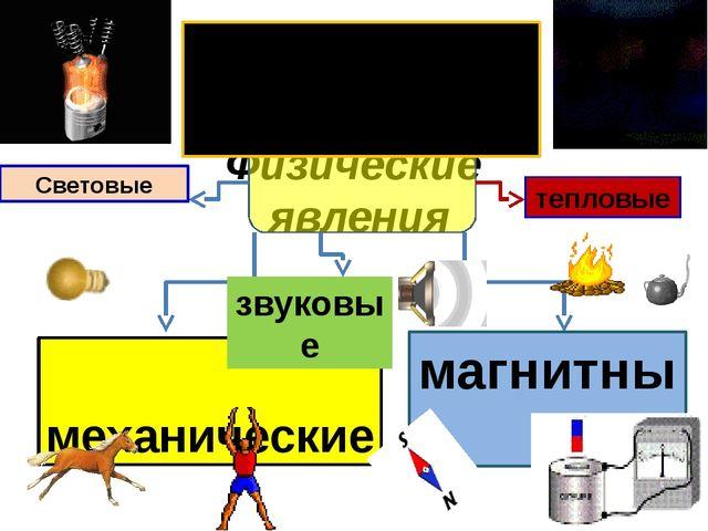 Физические явления механические магнитные Световые тепловые электрические зву...