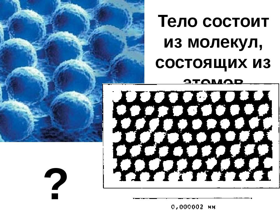 Тело состоит из молекул, состоящих из атомов ?