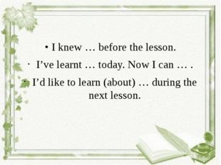 • I knew … before the lesson. I've learnt … today. Now I can … . I'd like to