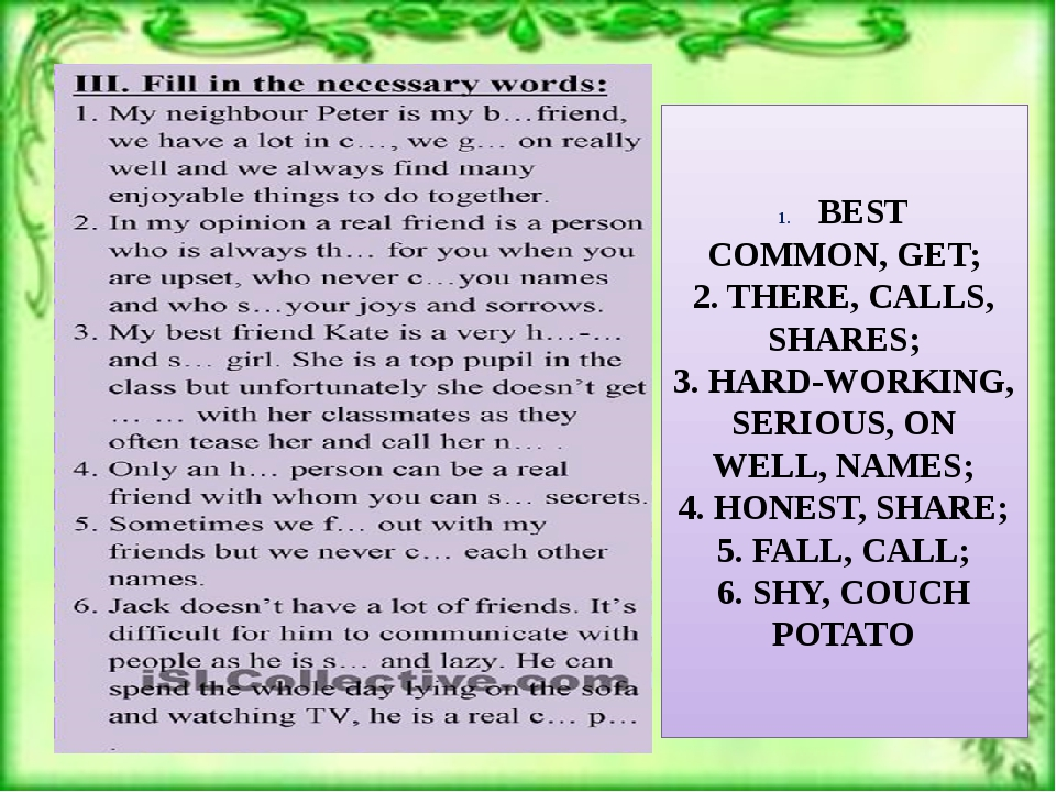BEST COMMON, GET; 2. THERE, CALLS, SHARES; 3. HARD-WORKING, SERIOUS, ON WELL...