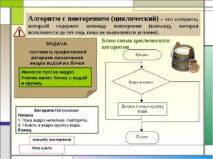 Алгоритм с повторением (циклический) – это алгоритм, который содержит команд
