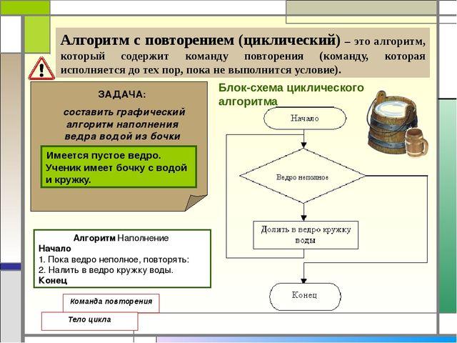 Алгоритм с повторением (циклический) – это алгоритм, который содержит команд...
