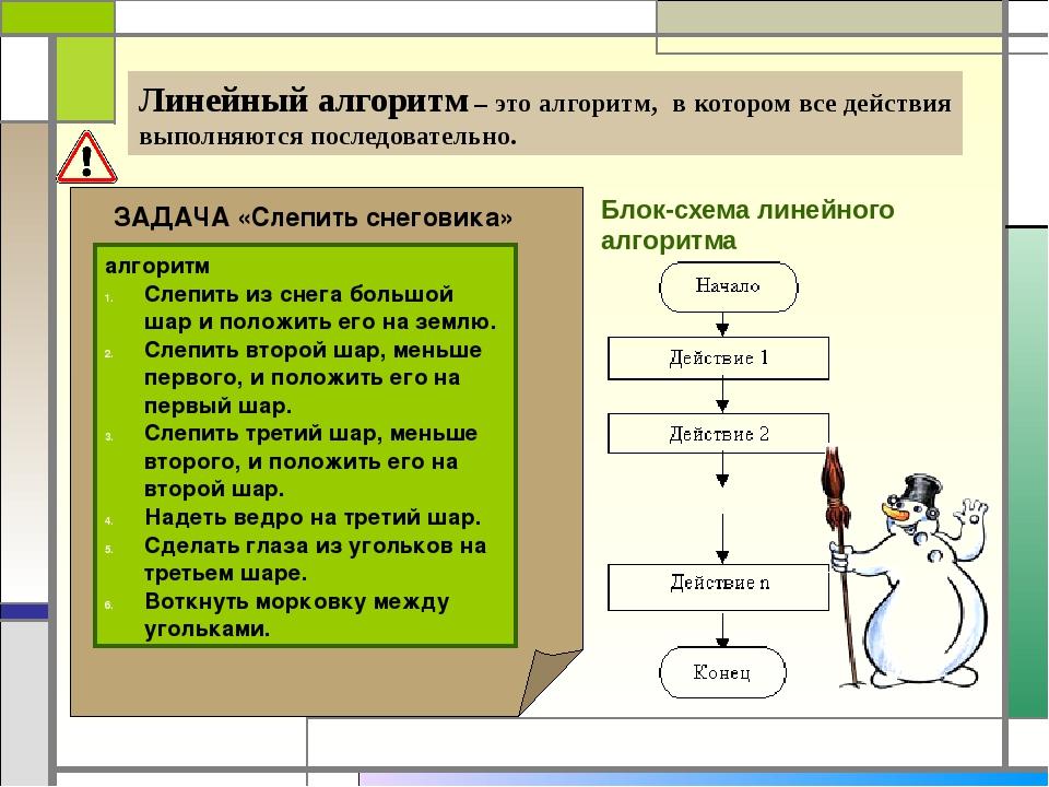 Линейный алгоритм – это алгоритм, в котором все действия выполняются последо...